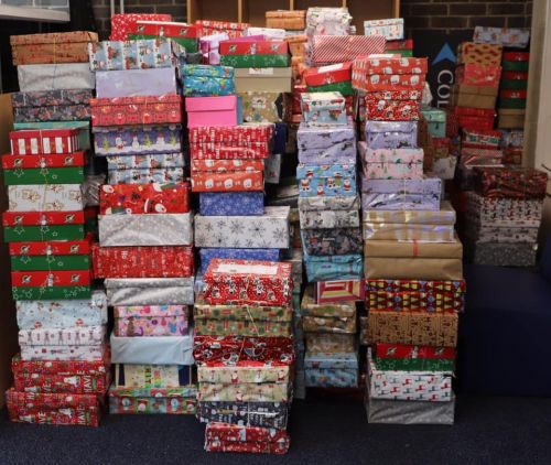 Part of the stack of Shoeboxes for packing 19